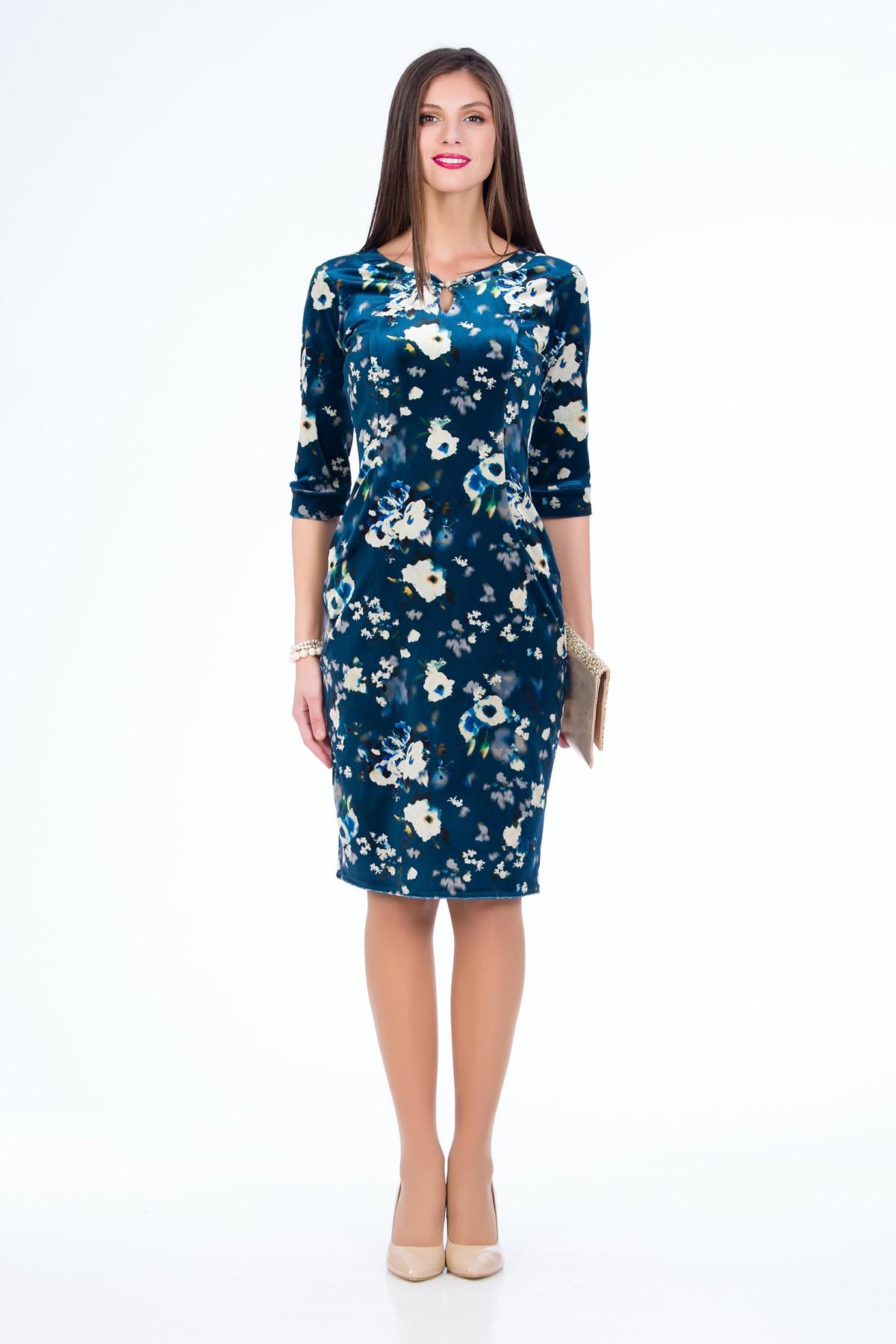 rochie-albastra-catifea-sense