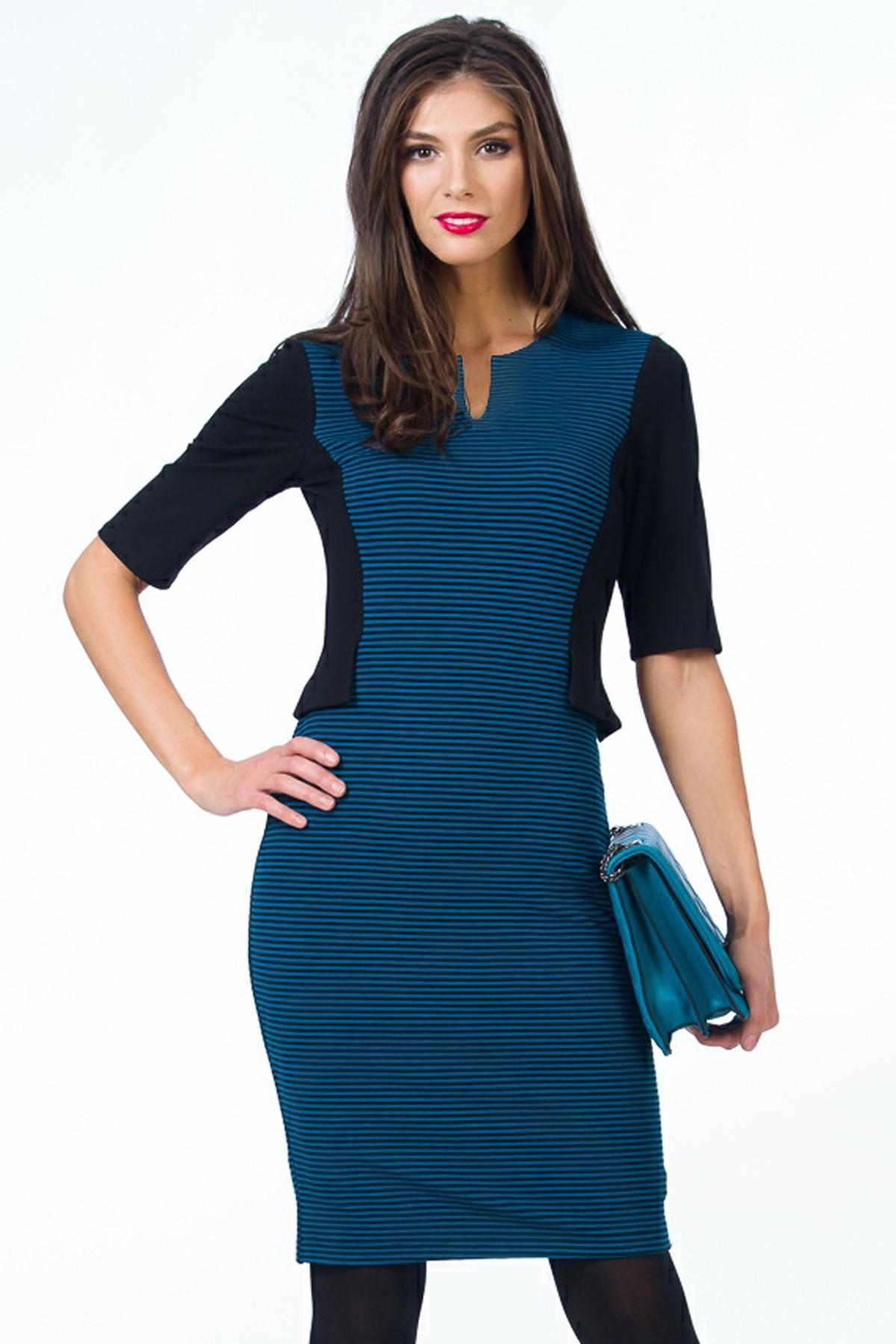 rochie-sense-albastru-negru