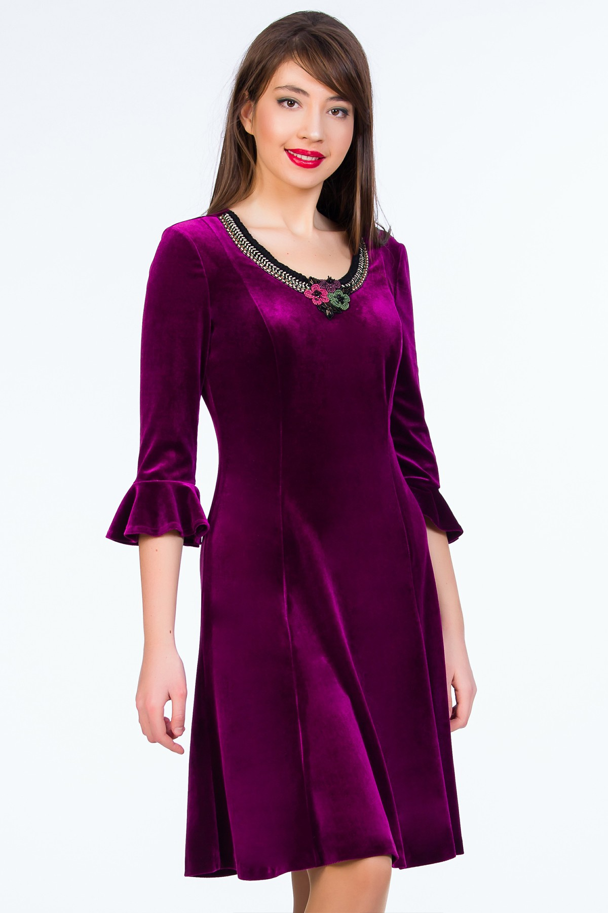 rochie-violet-sense-catifea