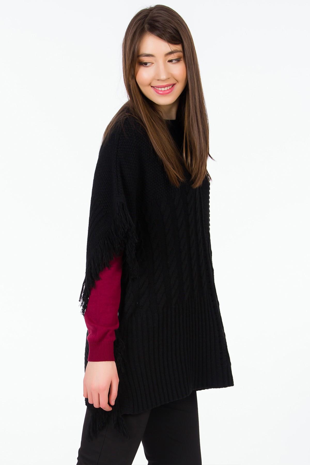 poncho-negru-franjuri-sense