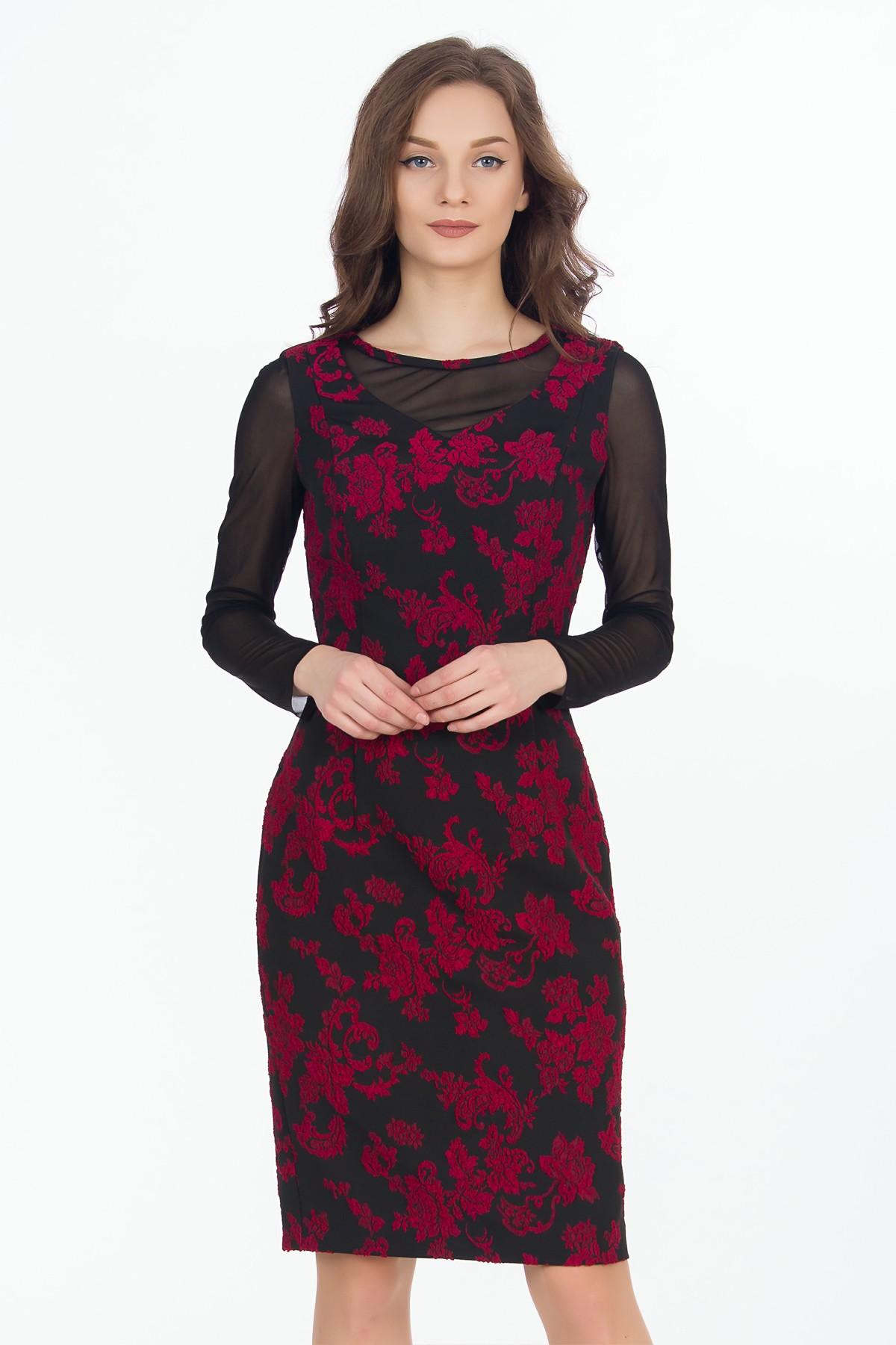 rochie-rosu-negru-flori-sense
